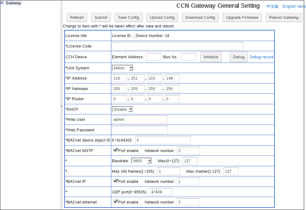 CCN/BACnet gateway as BACnet router